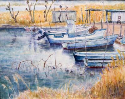 沼の船着き